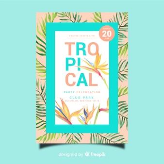 Szablon plakat tropikalny festiwal muzyczny