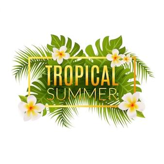 Szablon plakat tropikalny lato. letnie wakacje z liśćmi i kwiatami. raj w dżungli