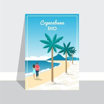 Szablon plakat wakacje copacaba rio