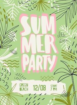 Szablon plakat wektor party lato. zaproszenie na festiwal plażowy ozdobione palmami i tropikalnymi liśćmi. promocja festiwalu muzycznego z zarysowaniami. dyskoteka na świeżym powietrzu, impreza taneczna, projekt plakatu koncertowego.