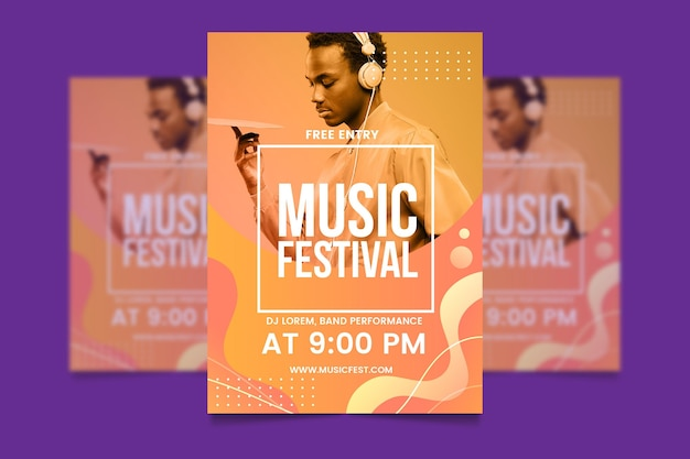 Szablon plakat wydarzenie muzyczne z obrazem