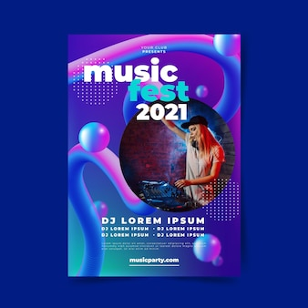 Szablon plakat wydarzenie muzyczne ze zdjęciem