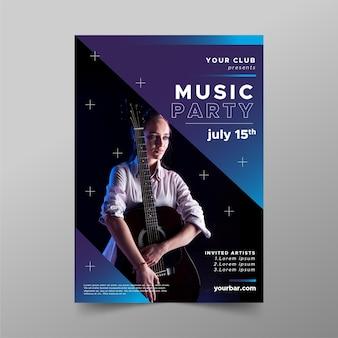 Szablon plakat wydarzenie muzyka gitara akustyczna