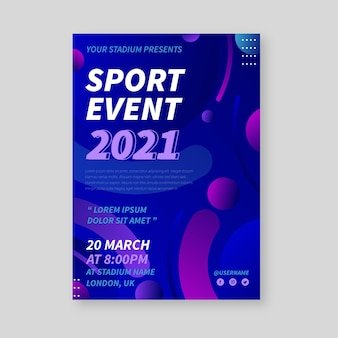 Szablon plakat wydarzenie sportowe płynny efekt