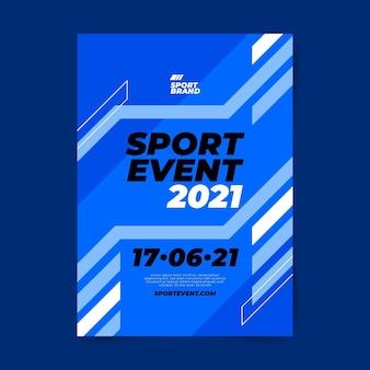 Szablon plakat wydarzenie sportowe z niebieskimi liniami
