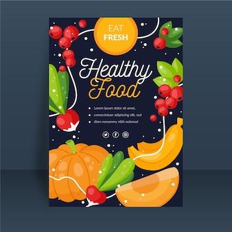 Szablon plakat zdrowej żywności z ilustrowanych owoców i warzyw