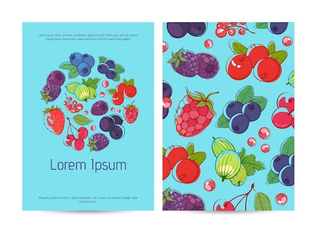 Szablon plakat zdrowej żywności z jagodami