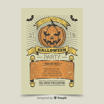 Szablon plakat zły halloween dynia