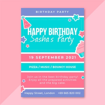 Szablon Plakatów Urodzinowych Siatki Darmowych Wektorów