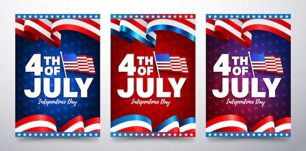 Szablon plakatu 4 lipca. obchody dnia niepodległości usa z amerykańską flagą.
