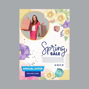 Szablon plakatu a4 akwarela wiosna