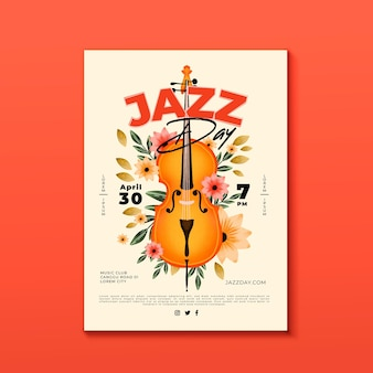 Szablon plakatu akwarela międzynarodowy dzień jazzu