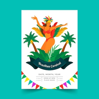 Szablon plakatu brazylijskiego karnawału