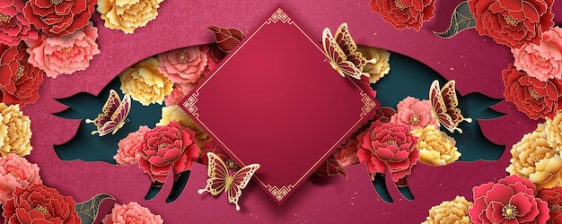 Szablon plakatu chińskiego nowego roku z kwiatami piwonii i pustym kształtem świnki na tle fuksji
