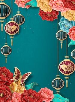 Szablon plakatu chińskiego nowego roku z wiszącymi lampionami i kolorową piwonią na turkusowym tle