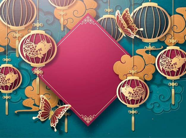 Szablon plakatu chińskiego nowego roku z wiszącymi lampionami i złotą chmurą