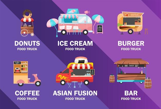 Szablon plakatu ciężarówki żywności. festiwal jedzenia ulicznego. broszura, okładka, projekt strony broszury z płaskimi ilustracjami. pojazdy na gotowe posiłki. ulotka reklamowa, ulotka, pomysł na układ banera