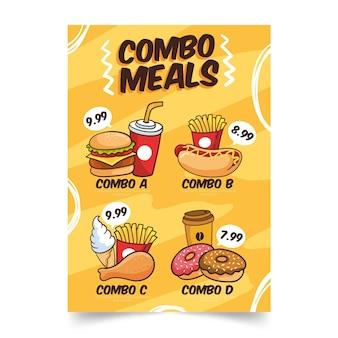 Szablon plakatu combo posiłki