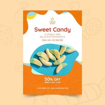 Szablon plakatu cukierków ze zdjęciem