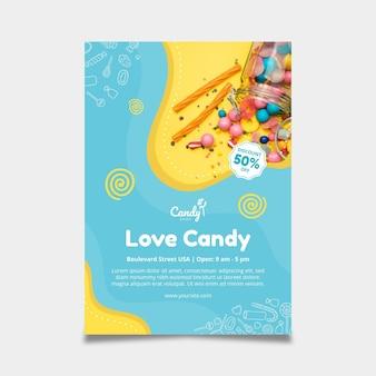 Szablon plakatu cukierków