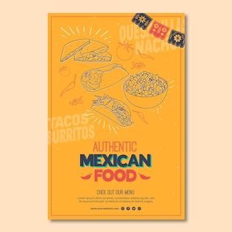 Szablon plakatu dla meksykańskiej restauracji spożywczej