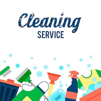 Szablon plakatu do czyszczenia domów z różnymi przedmiotami do czyszczenia