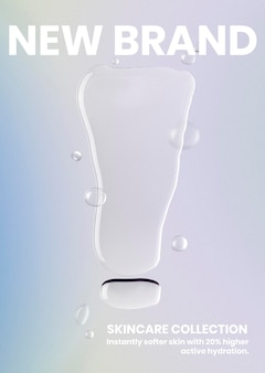 Szablon plakatu do pielęgnacji skóry, tło wektor wody, nowy tekst marki