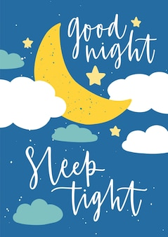 Szablon plakatu do pokoju dziecięcego z półksiężycem, gwiazdami, chmurami i napisem good night sleep tight odręcznym elegancką kursywą kaligraficzną czcionką