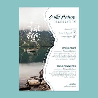 Szablon plakatu dzikiej przyrody ze zdjęciem