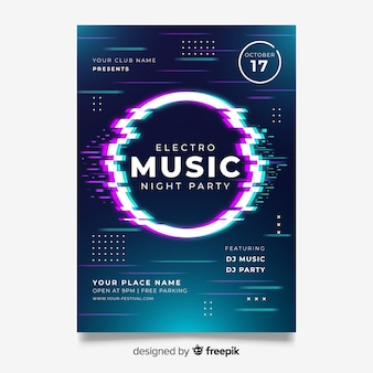 Szablon plakatu efekt muzyki elektronicznej usterki
