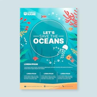Szablon plakatu ekologia oceanów