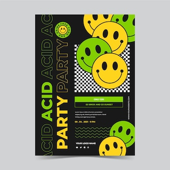Szablon plakatu emoji płaski kwas