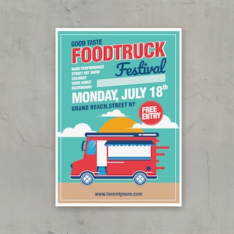 Szablon plakatu festiwal ciężarówka żywności