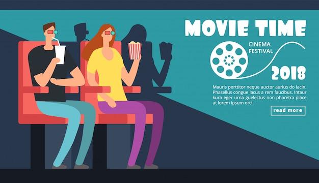 Szablon plakatu festiwalu kina. czas filmu, randka pary w teatrze