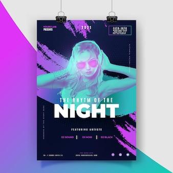 Szablon plakatu festiwalu muzycznego 2021