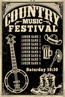 Szablon plakatu festiwalu muzyki country. kowbojski kapelusz, kowbojki, banjo. ilustracja
