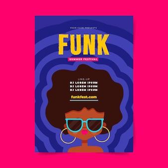 Szablon plakatu festiwalu muzyki funk