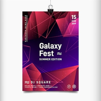 Szablon plakatu festiwalu muzyki galaxy