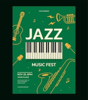 Szablon plakatu festiwalu muzyki jazzowej saksofon gitara mikrofon fortepian trąbka wektor