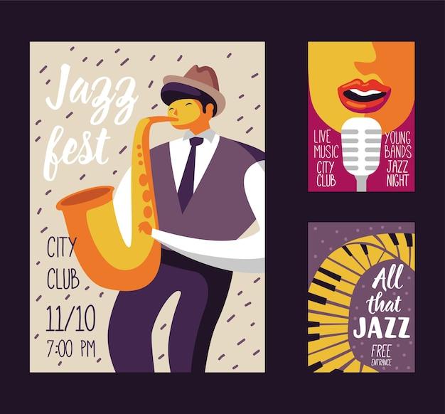 Szablon plakatu festiwalu muzyki jazzowej