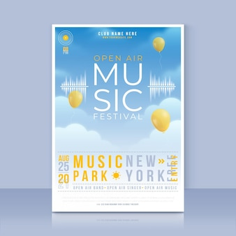Szablon plakatu festiwalu muzyki na świeżym powietrzu
