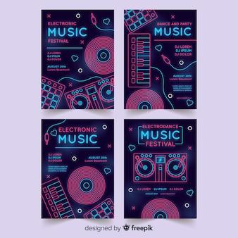 Szablon plakatu festiwalu muzyki neonowej
