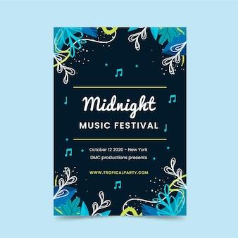 Szablon plakatu festiwalu muzyki o północy