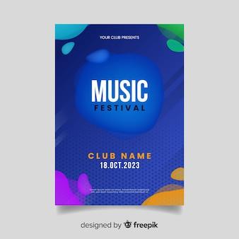Szablon plakatu festiwalu muzyki z efektem płynnym