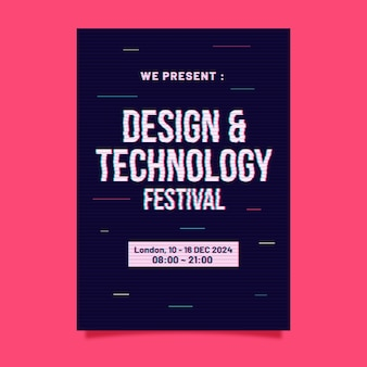 Szablon plakatu festiwalu projektowania i technologii