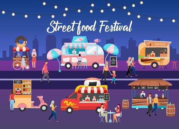 Szablon plakatu festiwalu ulicznego jedzenia