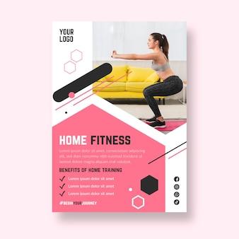 Szablon plakatu fitness w domu