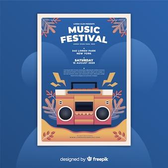 Szablon plakatu gradientowego festiwalu muzycznego