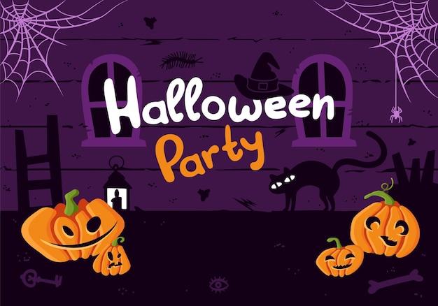 Szablon plakatu halloween straszna ulotka z zaproszeniem na przyjęcie z dynią i strasznymi elementami ciemny strych