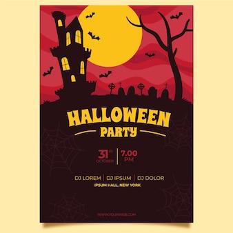 Szablon plakatu halloween z nietoperzami zamku